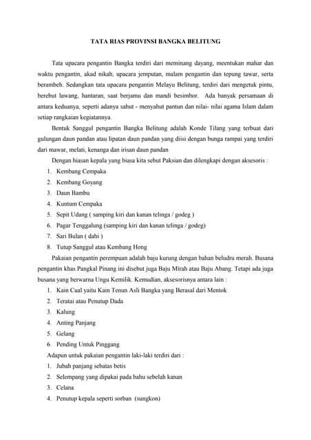 Tata rias untuk provinsi bangka belitung