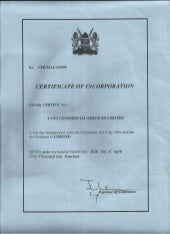 Tawi Commercial Services Limited Certificate of Incorporation