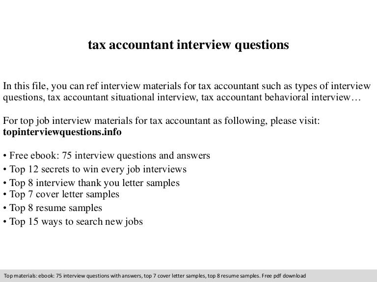 Tax accountant interview questions
