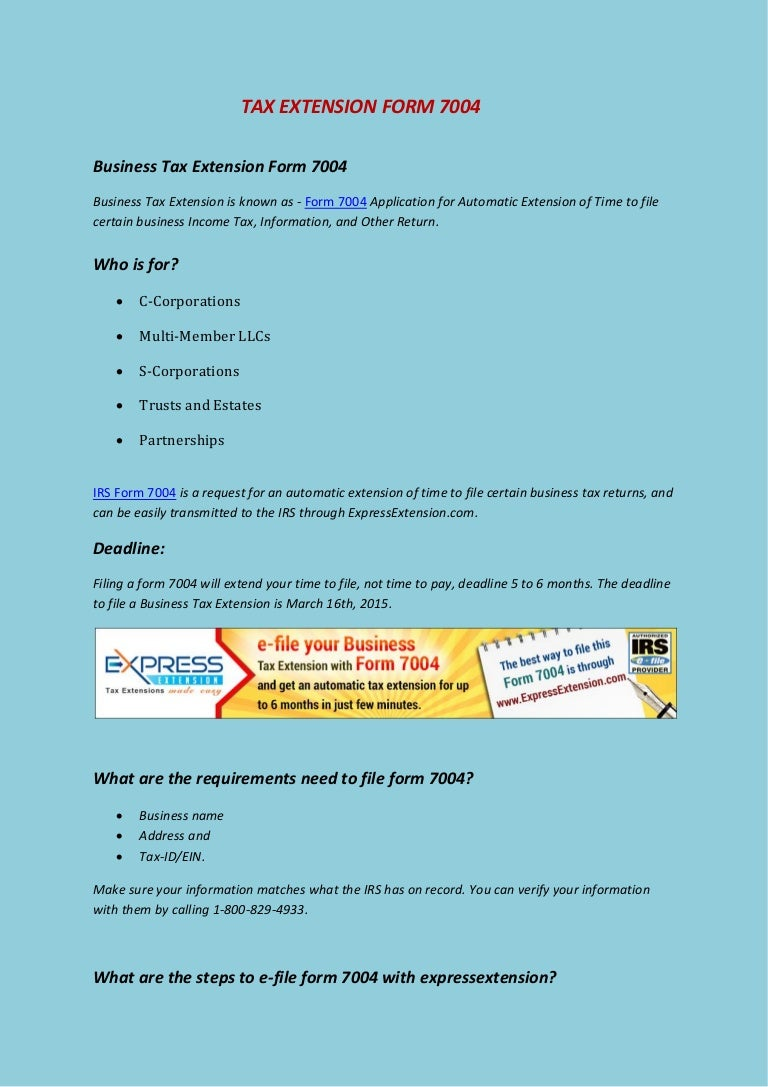 Tax extension form 7004