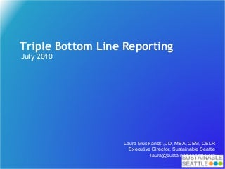 Triple Bottom Line Reporting workshop slides, Laura Musikanski, July 2010