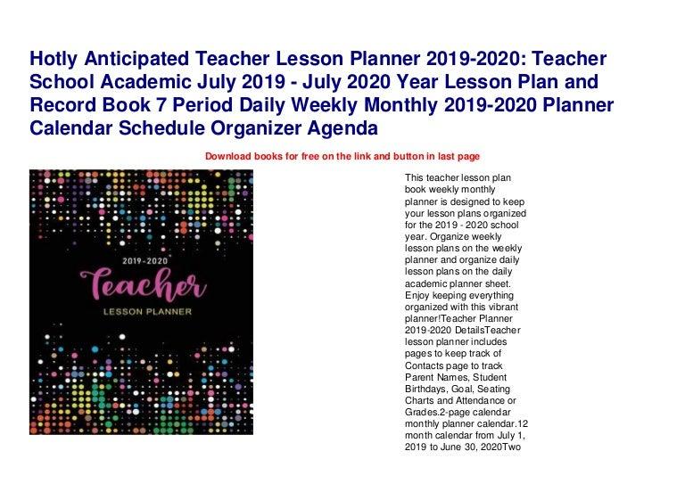 Hotly Anticipated Teacher Lesson Planner 2019 2020 Teacher School Ac
