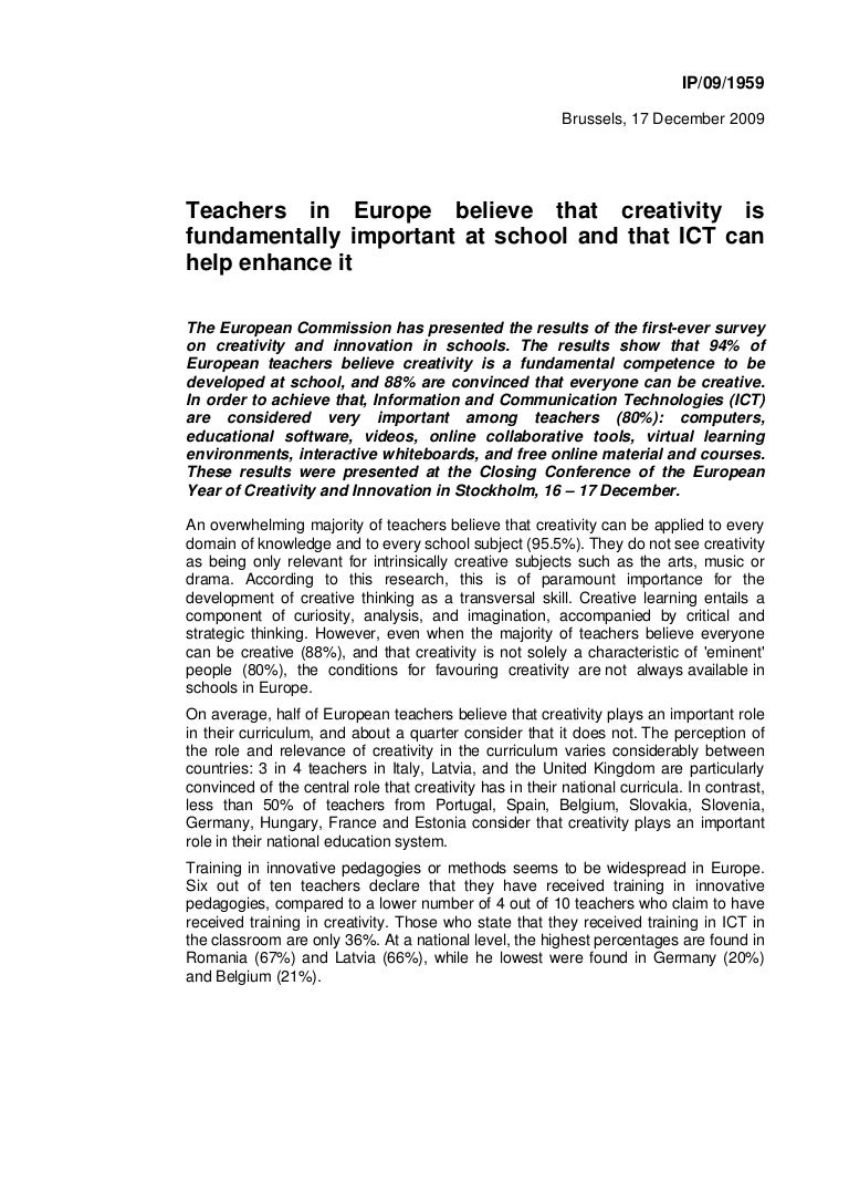 Teachers in europe creativity