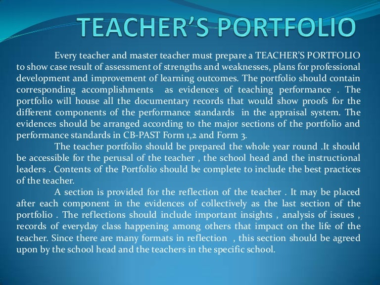 Teacher\'s portfolio