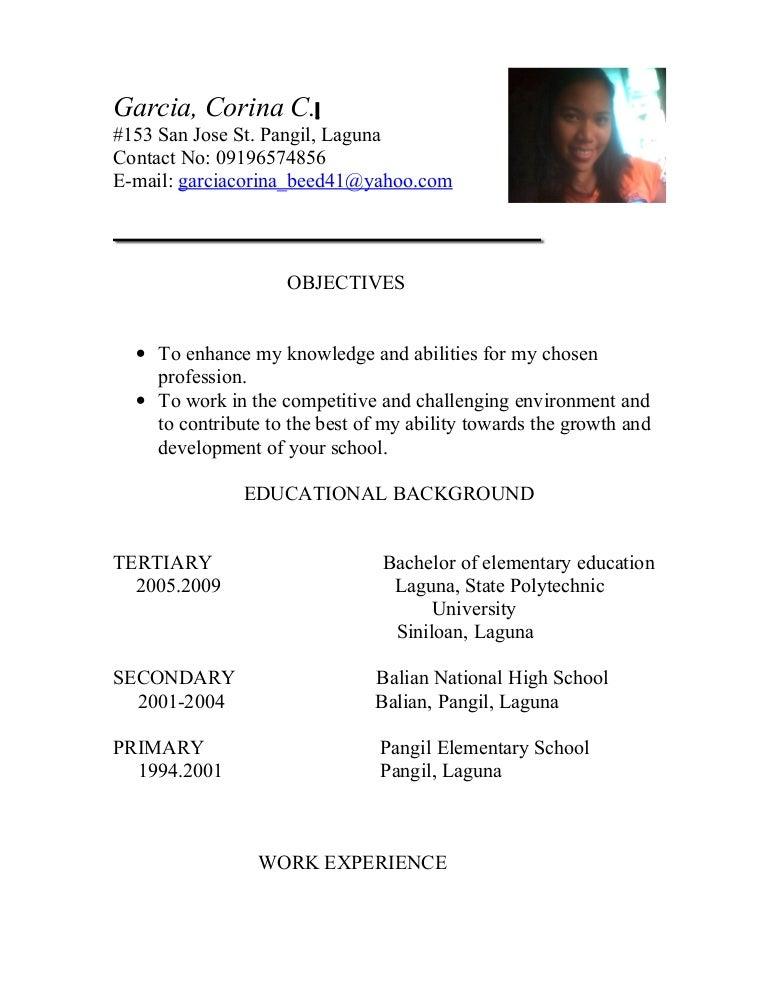 sample resume for teacher applicant