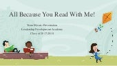 """All Because You Read With Me"" presentation - LDA Class of 2018"