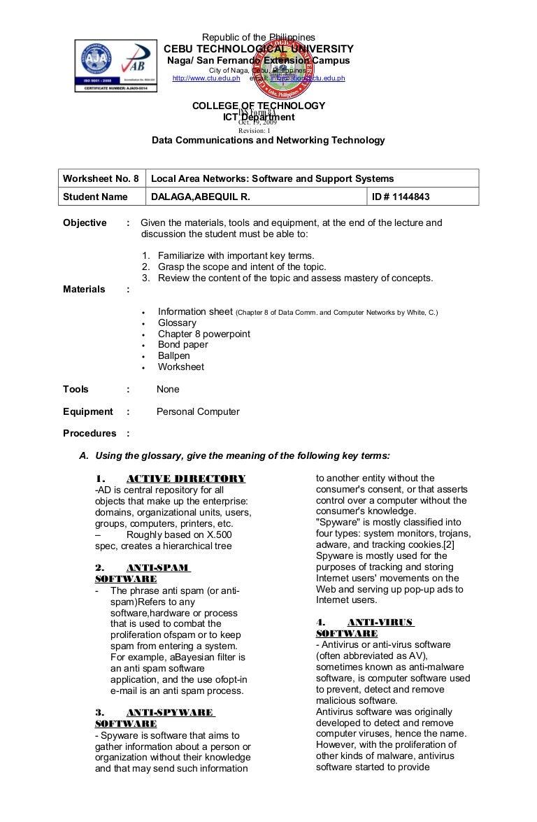 Tech 224 Online Worksheet 1