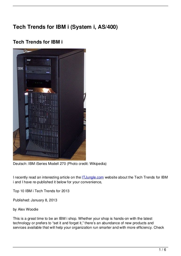 tech trends for ibm i system i as400
