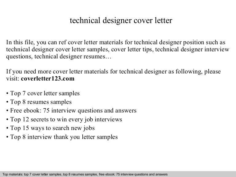 Technical designer cover letter