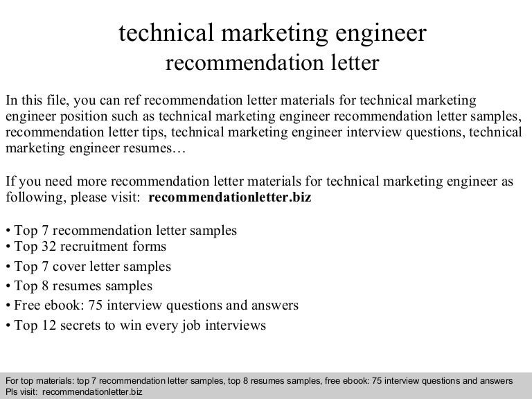 technical marketing engineer recommendation letter - Technical Marketing Engineer Resume