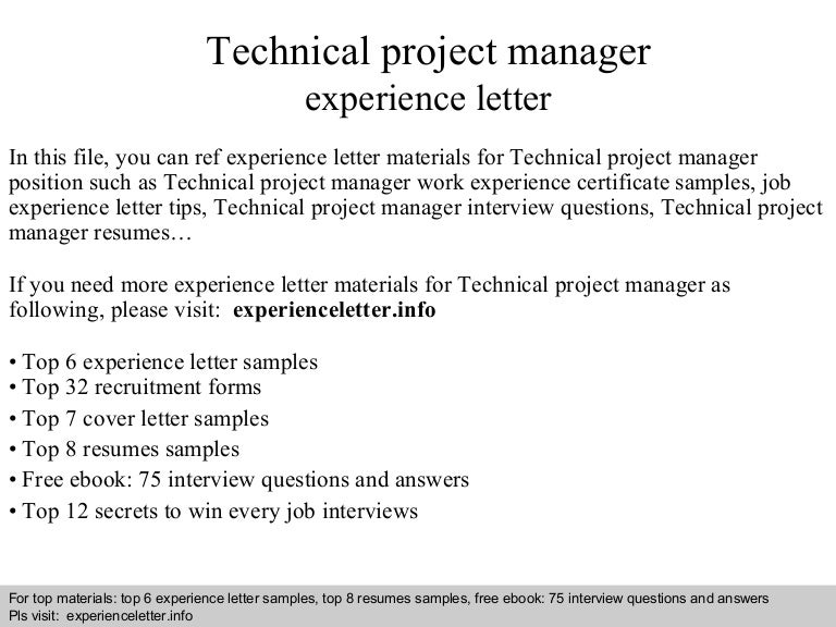 Technical project manager experience letter
