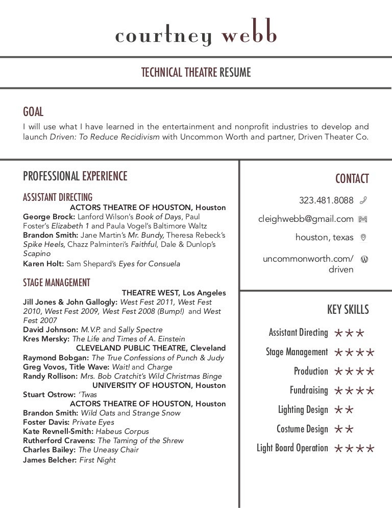 Courtney Webb S Theatre Film Industry Resume