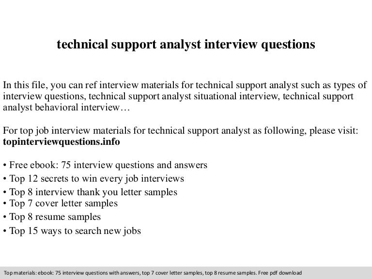 Technical support analyst interview questions