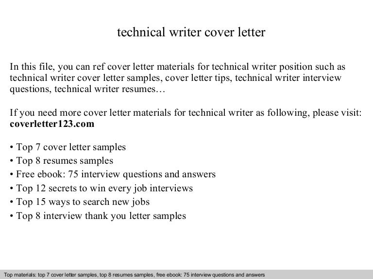 technical writer cover letter - Writing Resume Cover Letter
