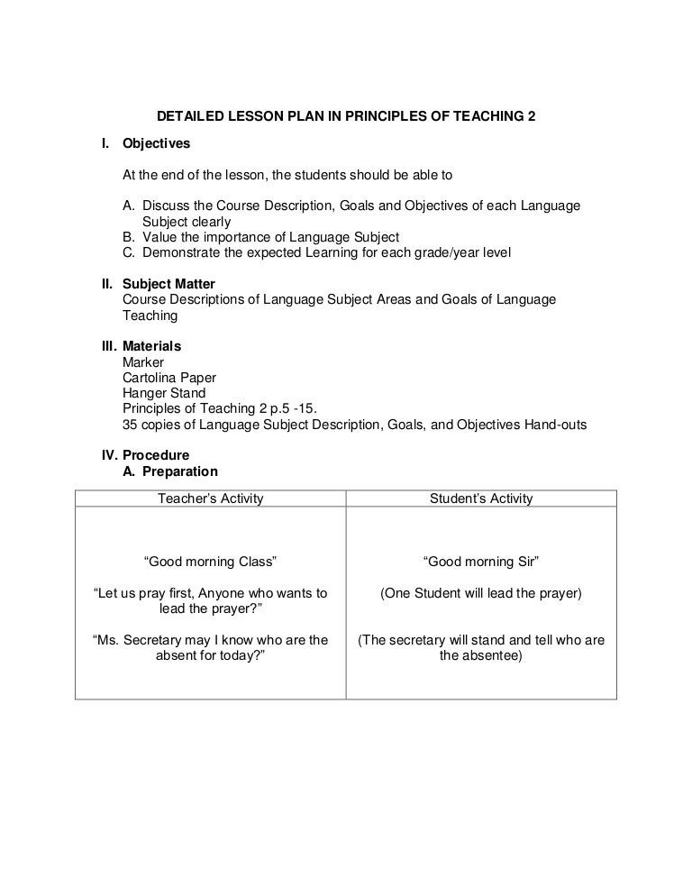 Sample Detailed Lesson Plan