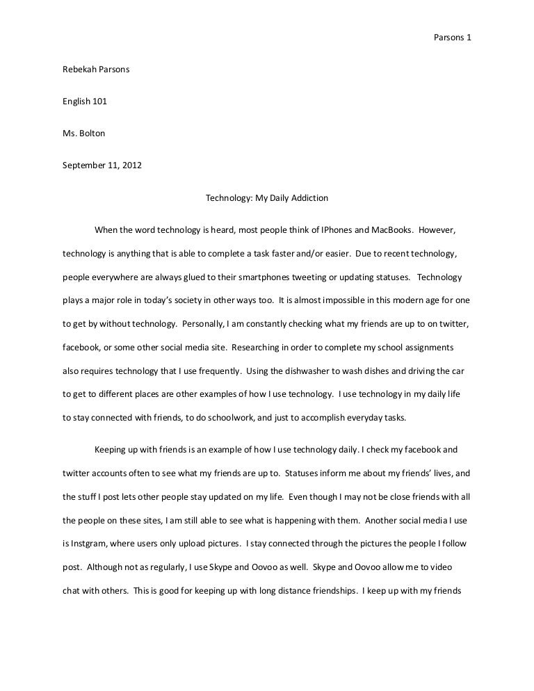 English Essay Papers Essay Technology Sample Essays For High School Students also Research Paper Essays Essay Technology  Underfontanacountryinncom Thesis Statement Argumentative Essay