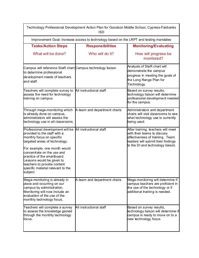 technology professional development action plan for goodson middle sc u2026