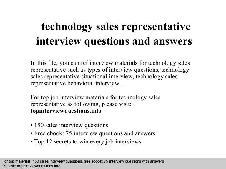 Technologysalesrepresentativeinterviewquestionsandanswers 140818042445 Phpapp01 Thumbnail 4cb1408335915