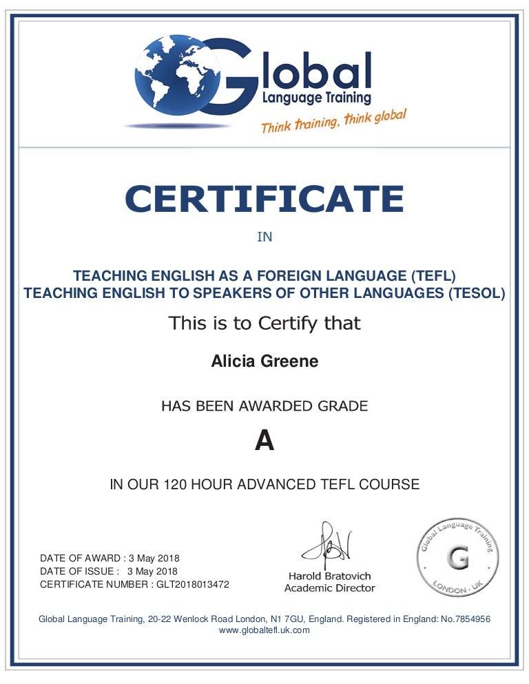 certificate tefl tesol english telf teyl ielts