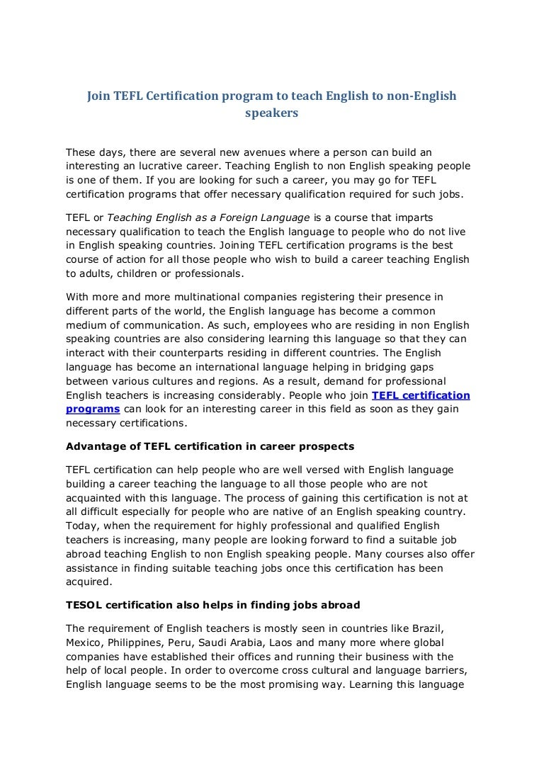 Tefl Certification Program