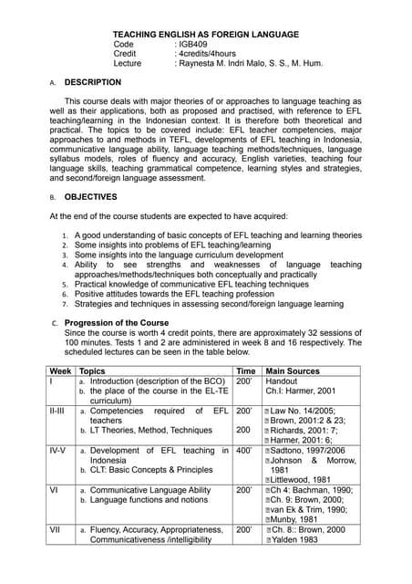 Tefl methodology