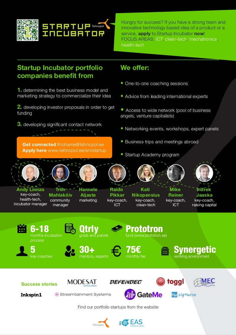 tehnopol startup incubator one pager
