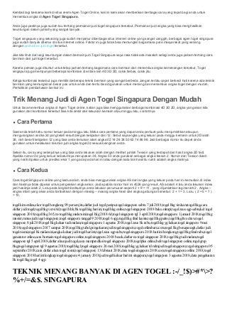 daftar togel keluaran singapore