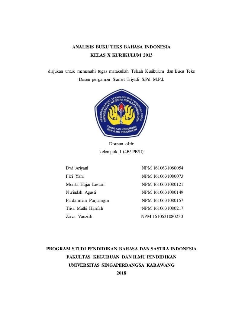 Telaah Buku Teks Bahasa Indonesia Kelas X Kurikulum 2013