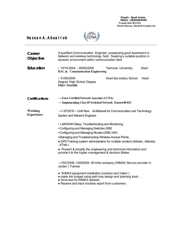 telecom engineer cv - Communication Engineer Sample Resume