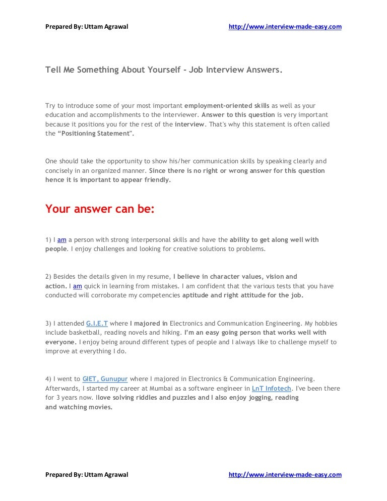summary about yourself for a job