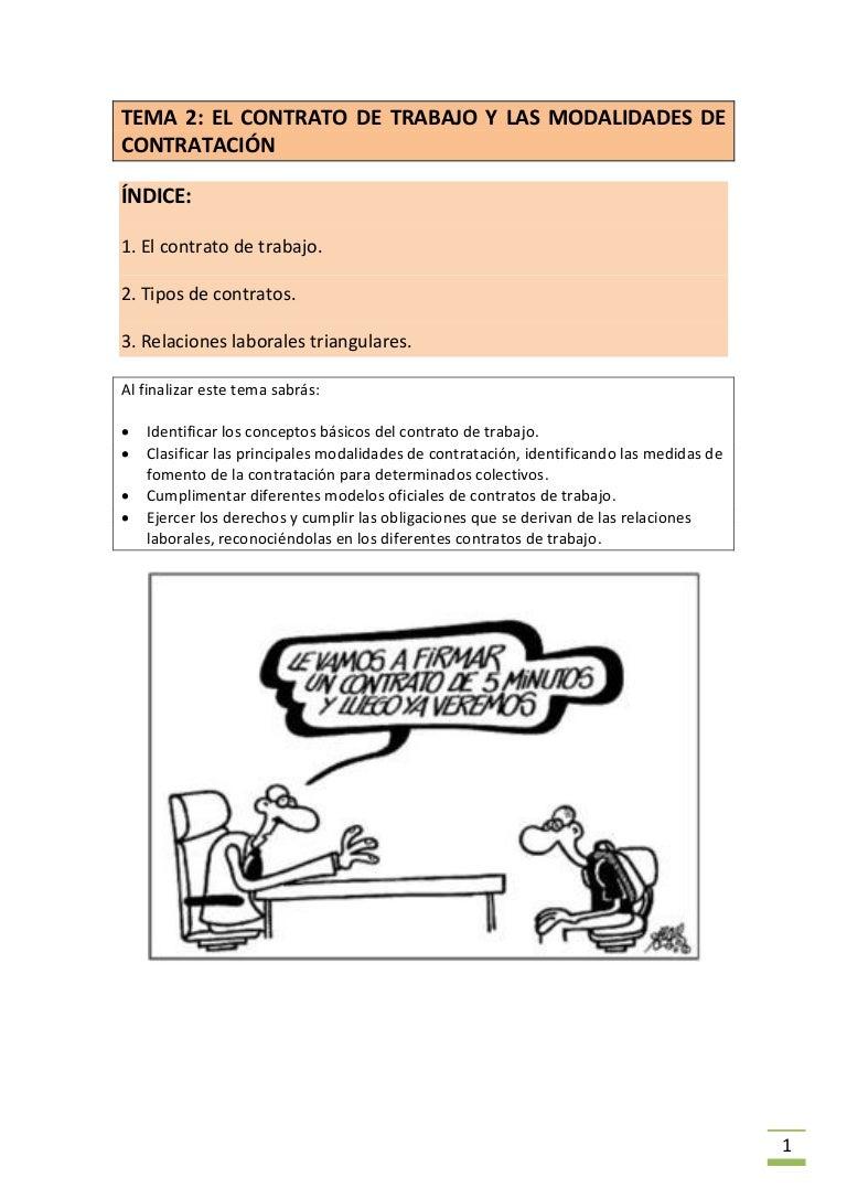 Tema 2 el contrato de trabajo y las modalidades de contratación