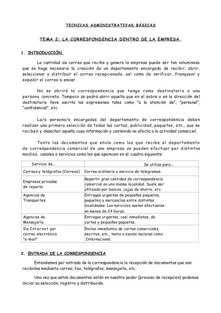 Tema 2 la correspondencia