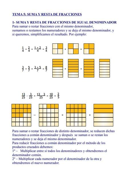 Tema 5 suma y resta de fracciones