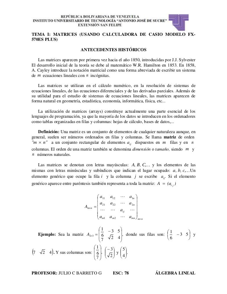 Tema i matrices algebra lineal iutajs