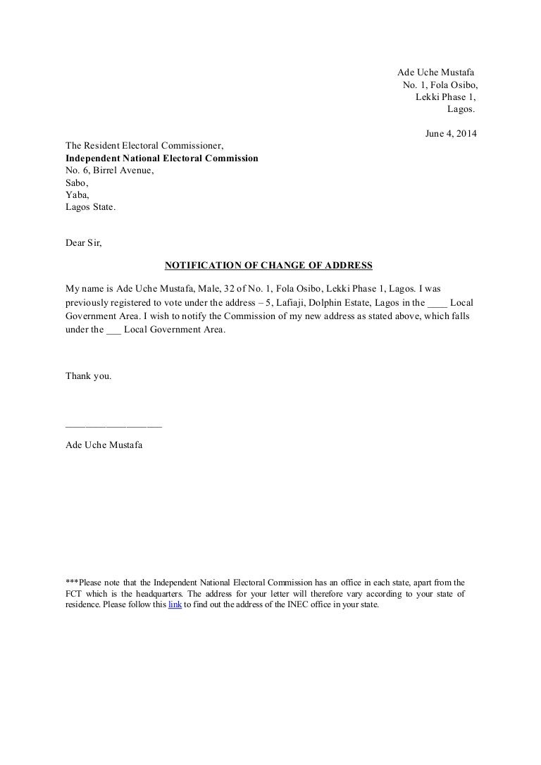business change of address letter sample format letter to inform – Notify Letter