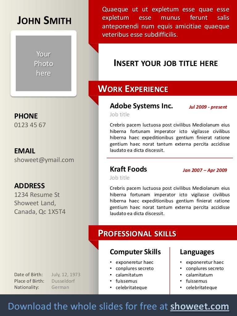 clean resumecv template for powerpoint