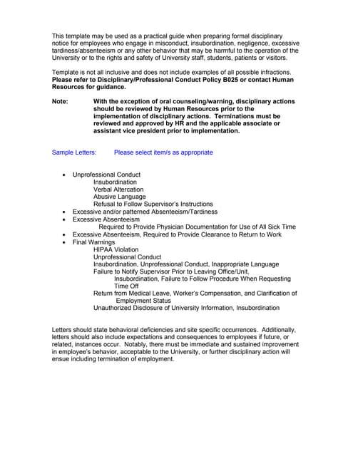 Sample Disciplinary Letter For Unprofessional Behavior from cdn.slidesharecdn.com