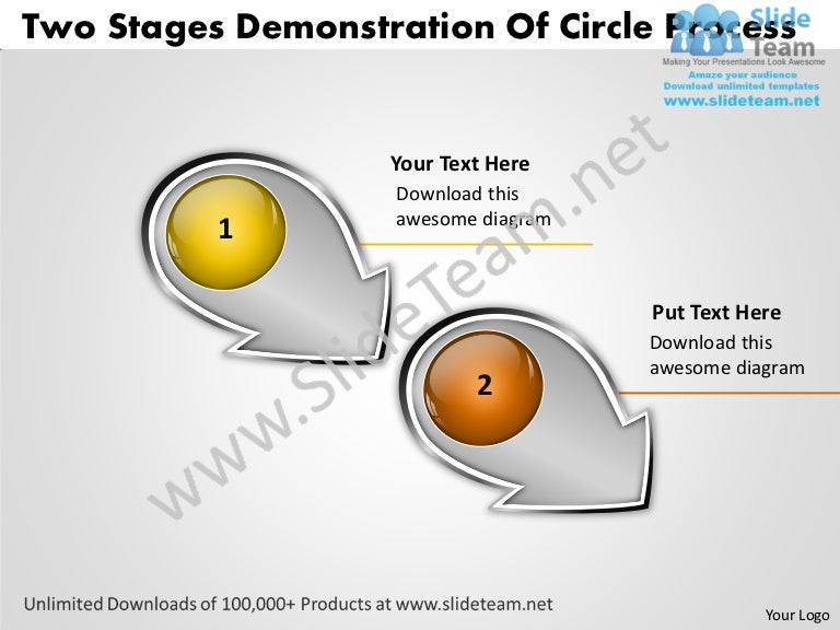 template for business proposal two stages demonstration of circle pro. Black Bedroom Furniture Sets. Home Design Ideas