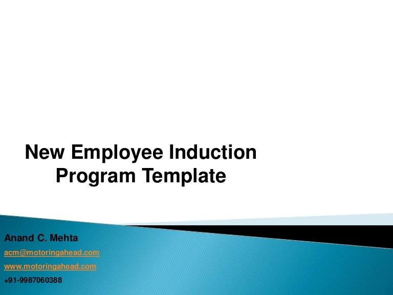 Template For New Employee Induction Program  Suitable For All Kinds
