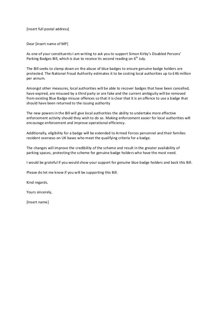 Template letter re disabled persons parking badges bill maxwellsz