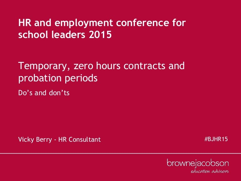 Temporary, Zero Hours And Probation - Hr And Employment Law In Educat…