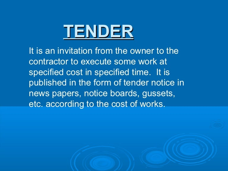 tender of performance example