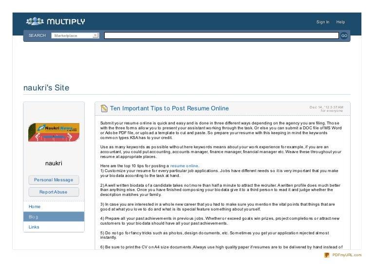 Ten Important Tips To Post Resume Online