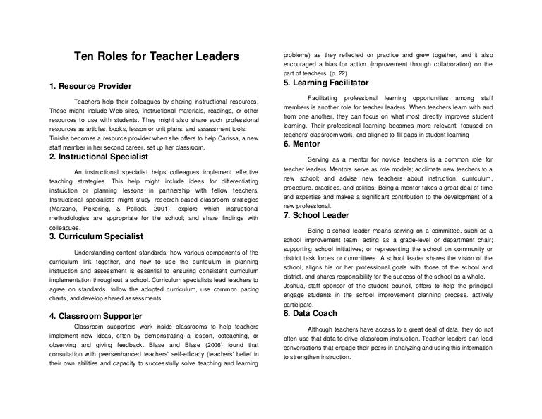Ten roles for teacher leaders
