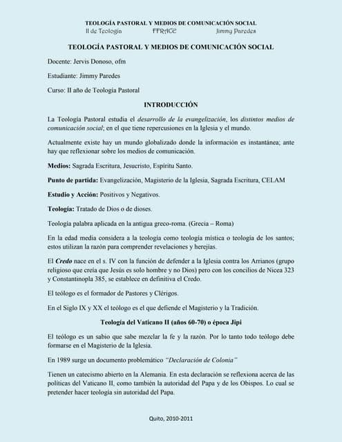 Teología Pastoral y MCS