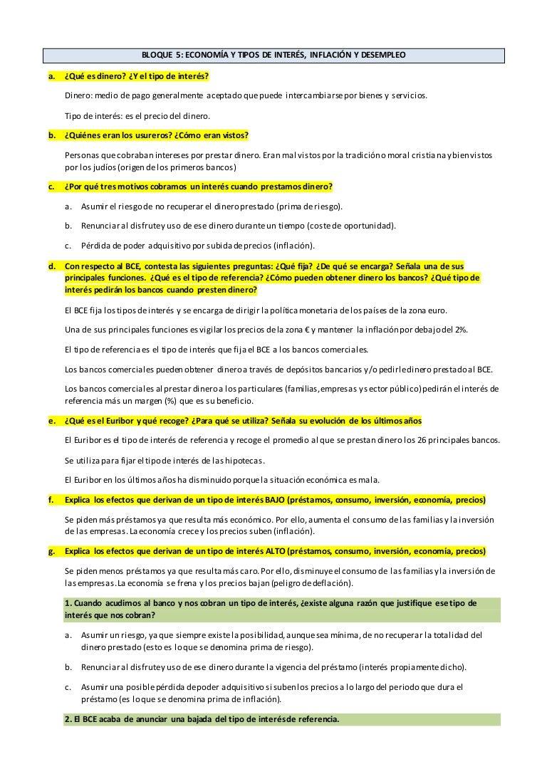 Teoría Bloque 5 Economía 4º ESO