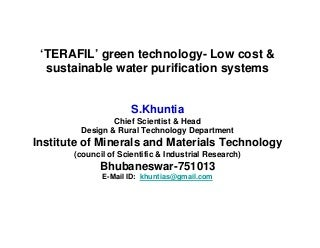 Terafil Water Filter S Khuntia Nov 11