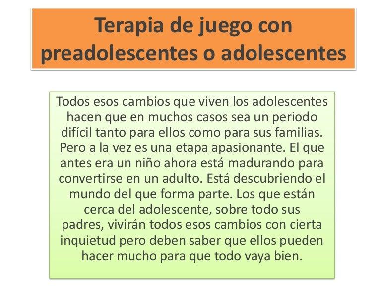 Terapia de juego con preadolescentes o adolescentes