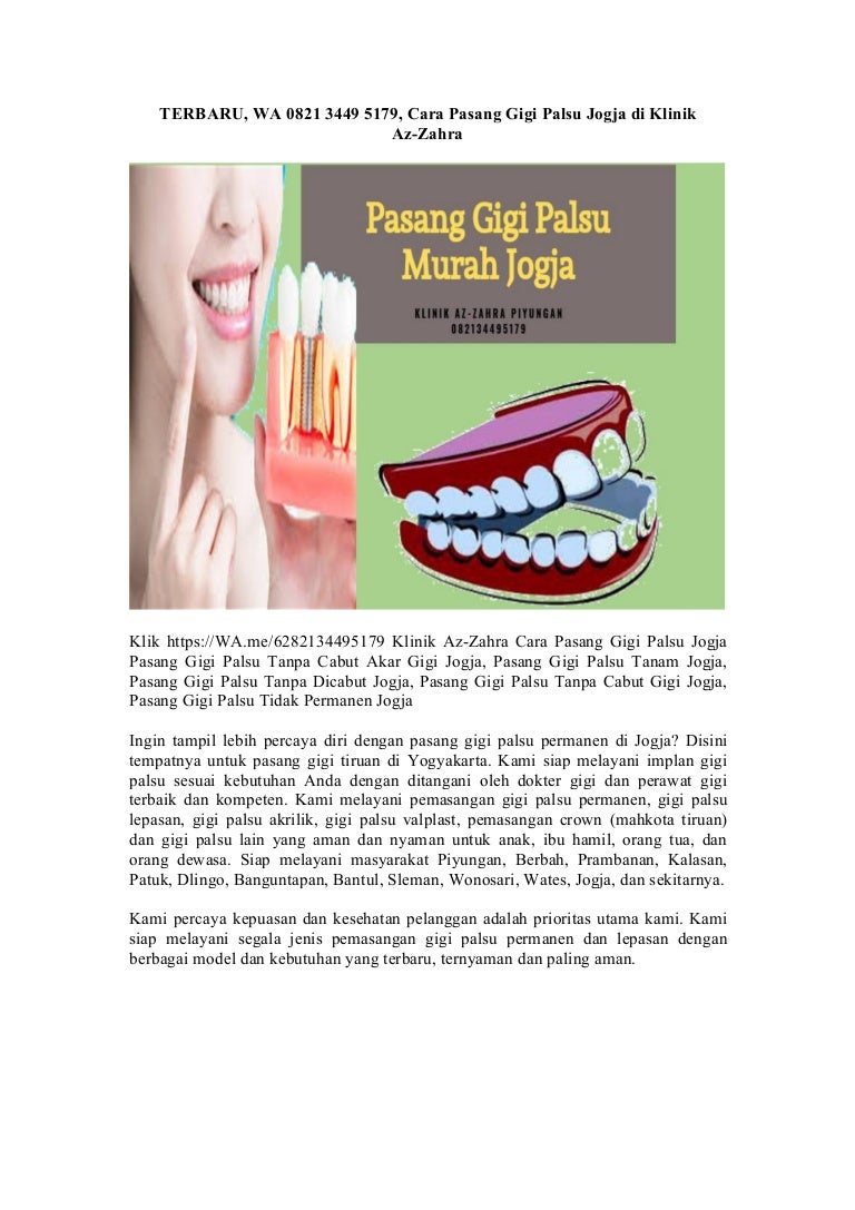 Terbaru Wa 0821 3449 5179 Cara Pasang Gigi Palsu Jogja Di Klinik Az