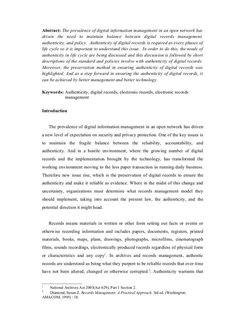 authenticity digital records term essay